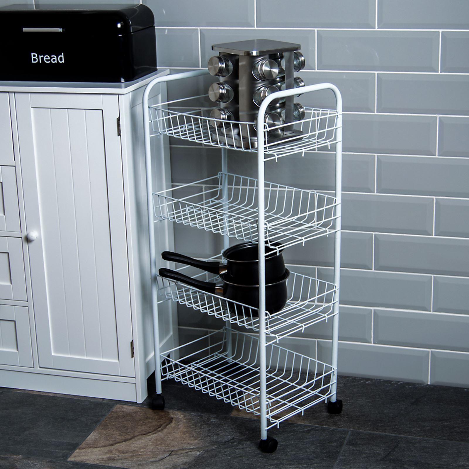 Kitchen Storage Trolley Baskets 3 4 Tier White Chrome Wheels Black ...