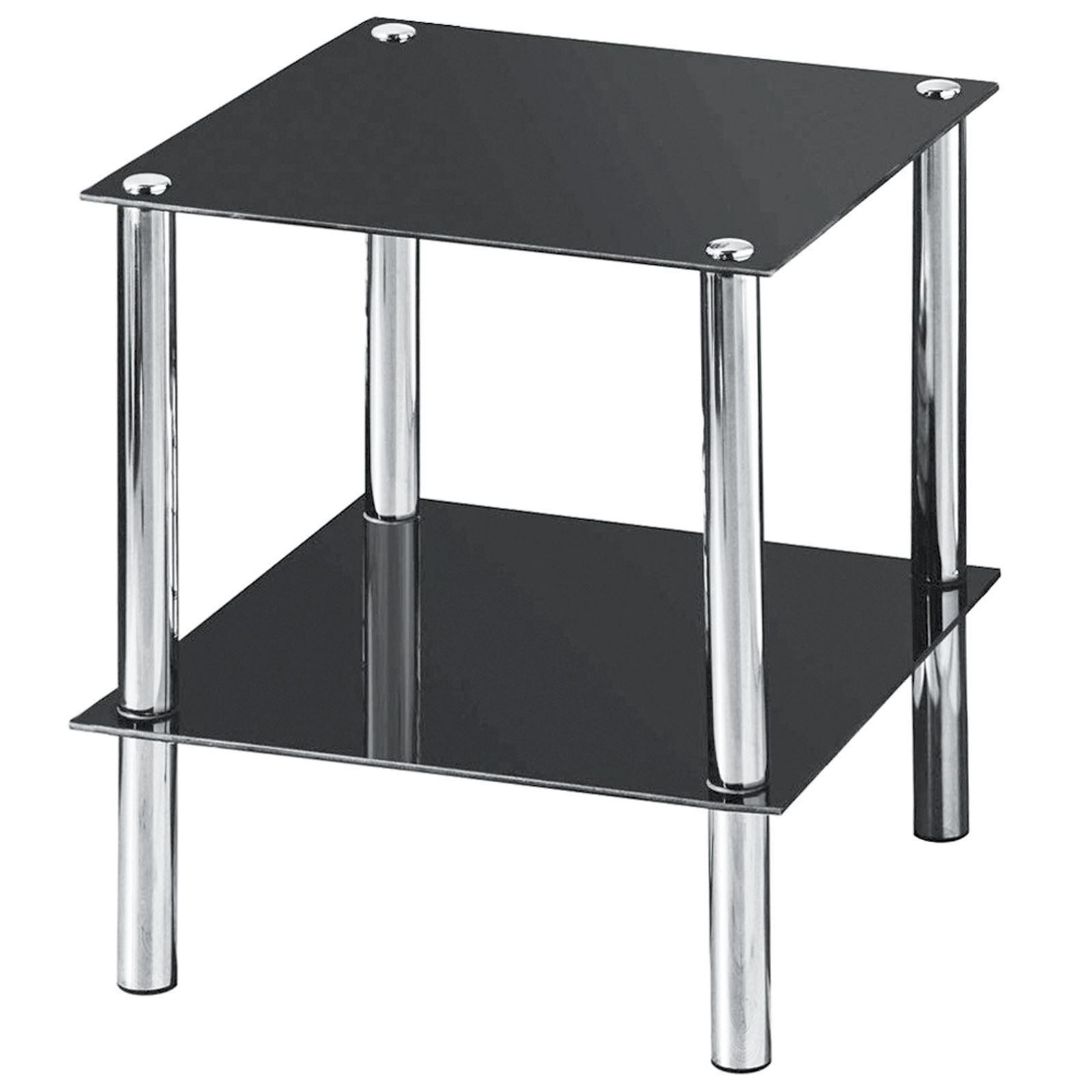 Glass Shelf Tv Unit Dvd Black 2 3 4 Tier Stainless Steel Living  # Etagere Salon Tv