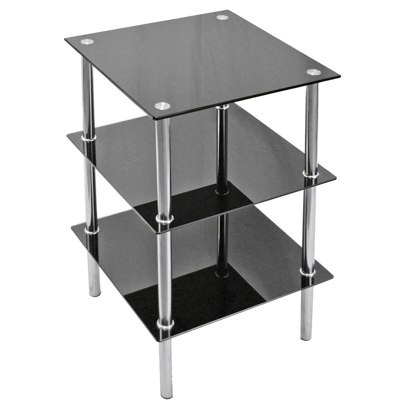 Glass Shelf TV Unit DVD Black 2 3 4 Tier Stainless Steel