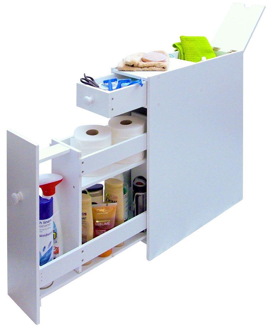 Slim bathroom storage cupboard thin cabinet unit white slimline