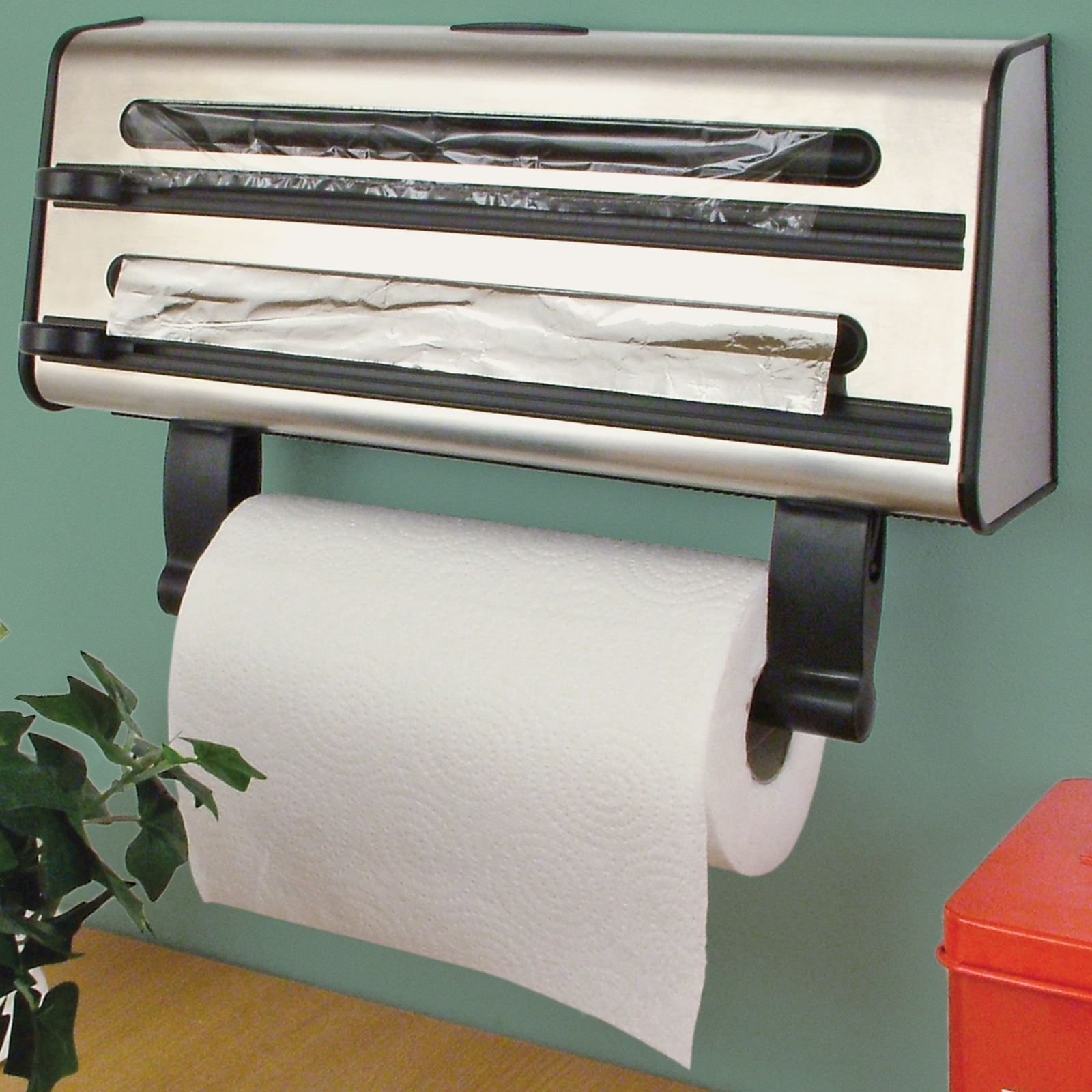 kitchen towel holder wall mounted. Kitchen Triple Roll Dispenser Cling Film Tin Foil Towel Holder Rack Wall Mounted A