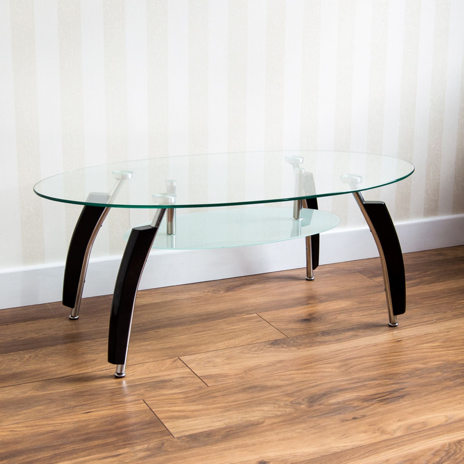 Coffee Table Glass Top Shelf Black White Legs Clear Black Furniture ...