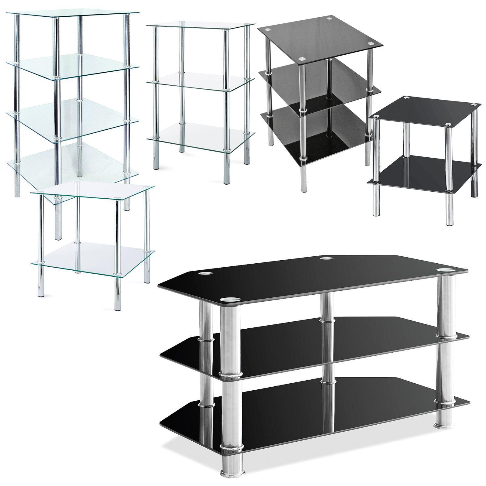 Glass Shelf TV Unit DVD Black 2 3 4 Tier Stainless Steel Living Room ...