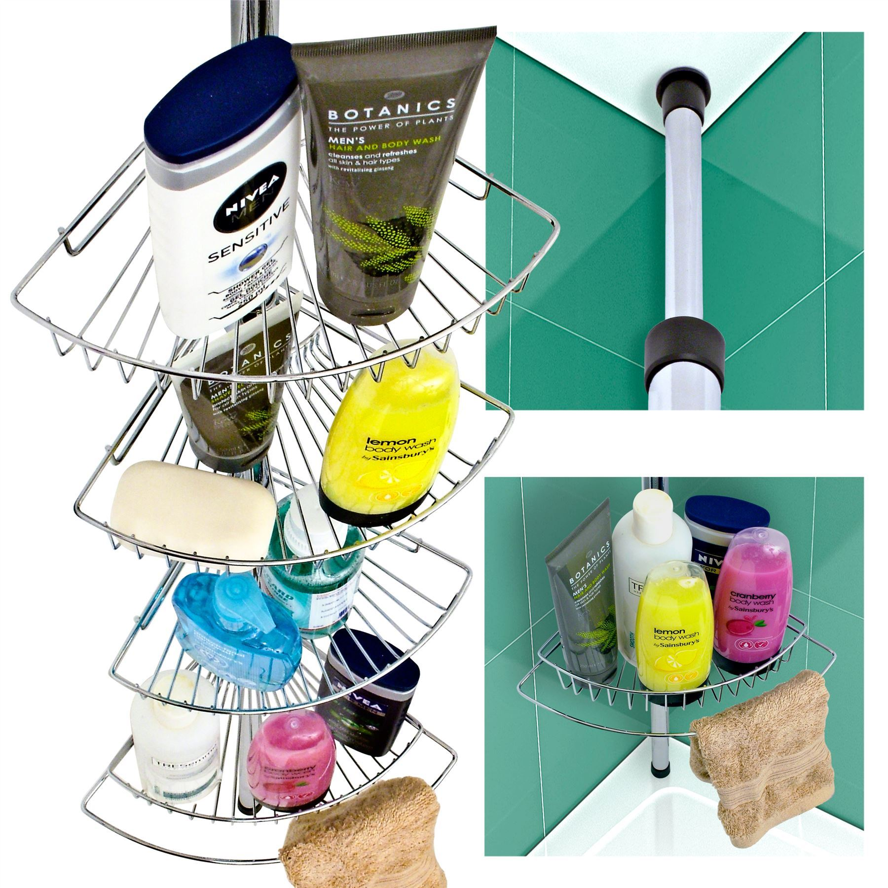 Shower Caddy 4 Tier Corner Shelves Shelving Bath Bathroom Unit ...
