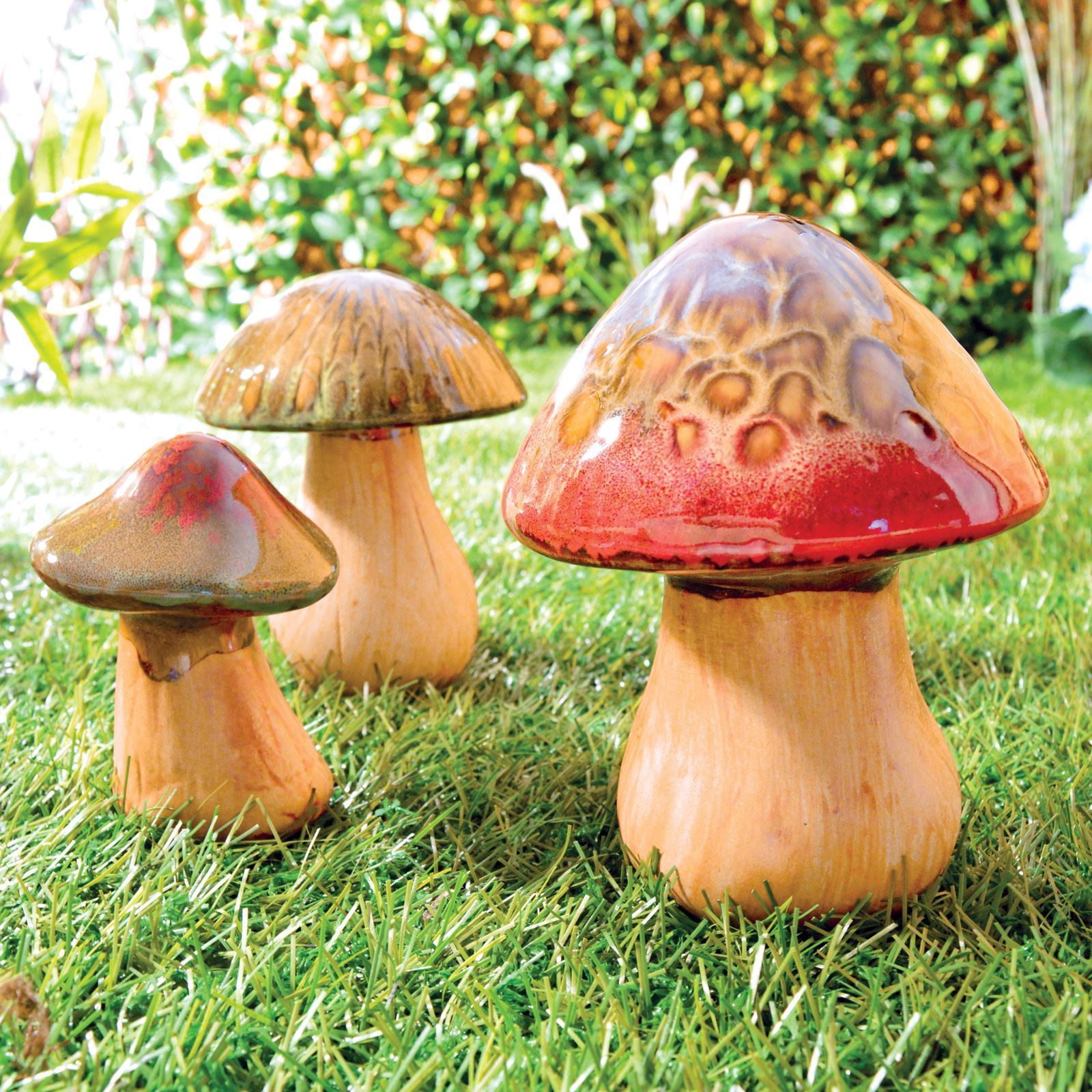 Ceramic Mushrooms Toadstools Pottery Garden Indoor Outdoor Ornaments Set Of  3 Great Ideas By Post