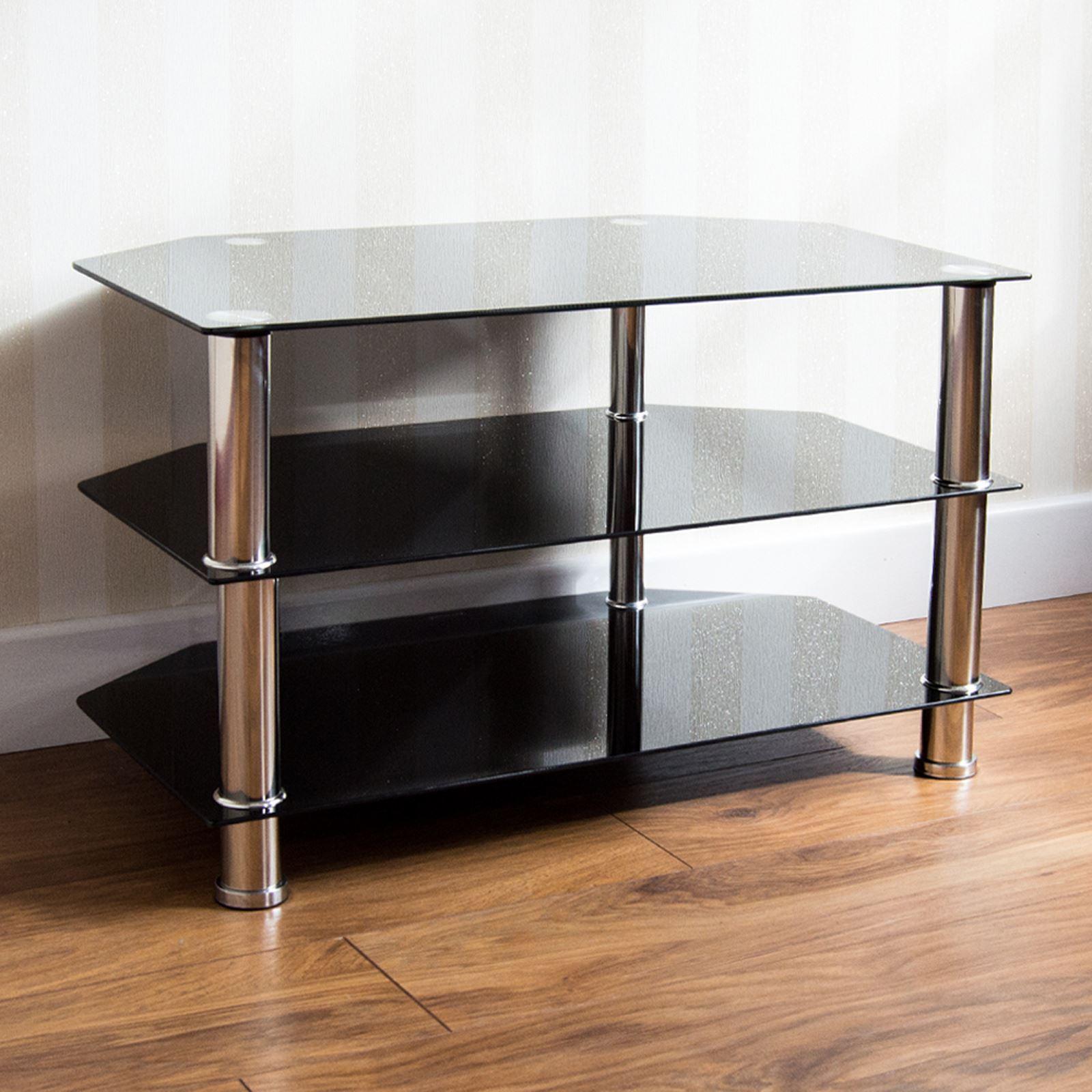 Glass Shelf Tv Unit Dvd Black 2 3 4 Tier Stainless Steel Living  # Meuble Tv Verre Et Acier