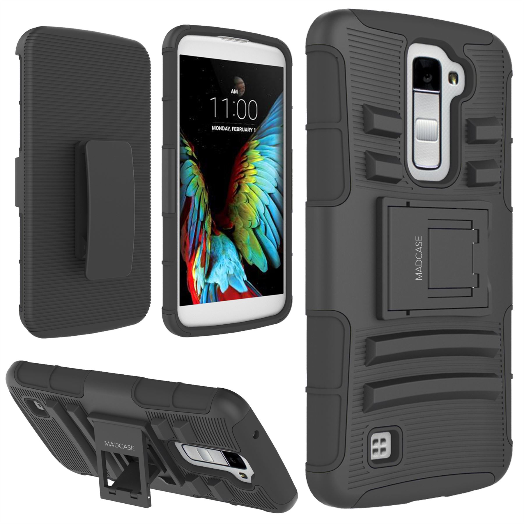 the latest 30ebc 4f476 Details about Madcase Rigid Armour Durable Shockproof Case with Kickstand  Cover for LG K10