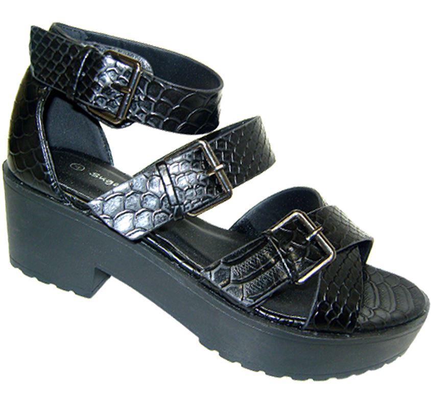 4bc39db116f Details about Womens chunky block heel gladiator sandals ladies platform  peep toe shoes