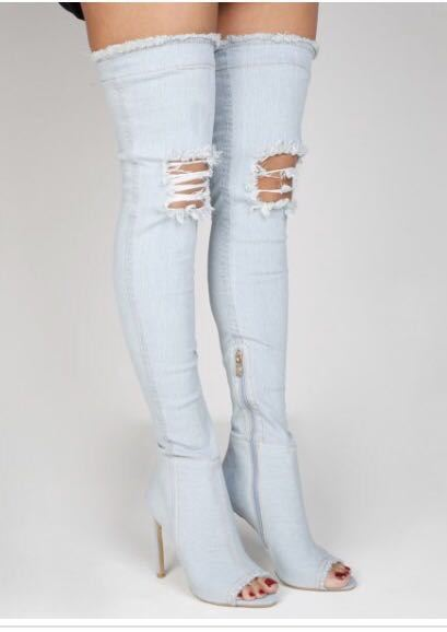 e366b3edef2 Ladies Womens denim boots over the knee peep toe ripped shoes UK 3-8 ...