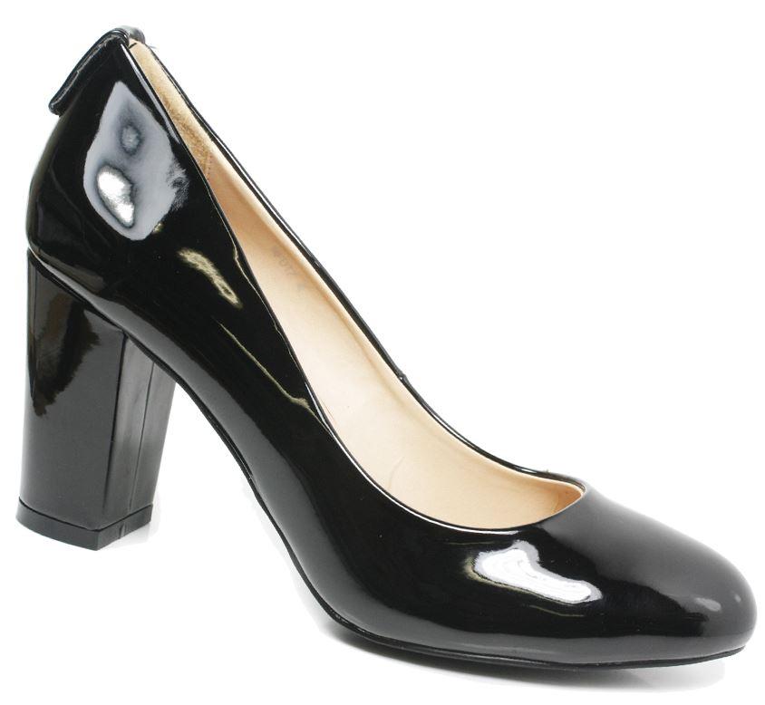 Womens Black Court Shoes Ladies Mid Heels Office Work Formal School