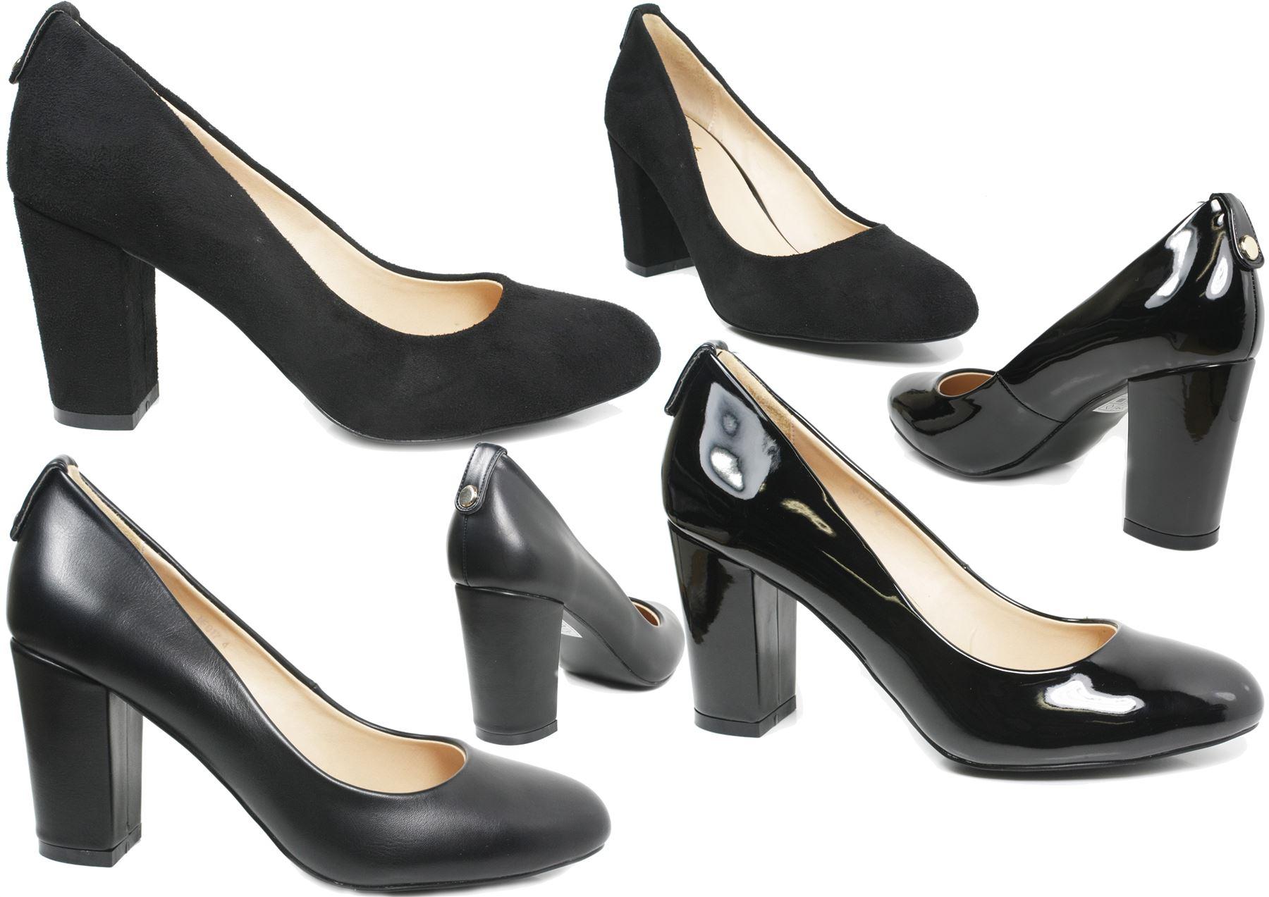 Womens black court shoes ladies mid