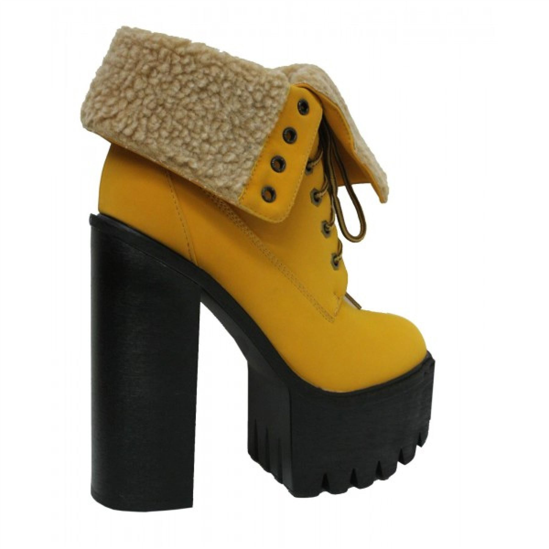 New-ladies-cleated-sole-platform-womens-lace-up-fur-chunky-high-heel-ankle-boot