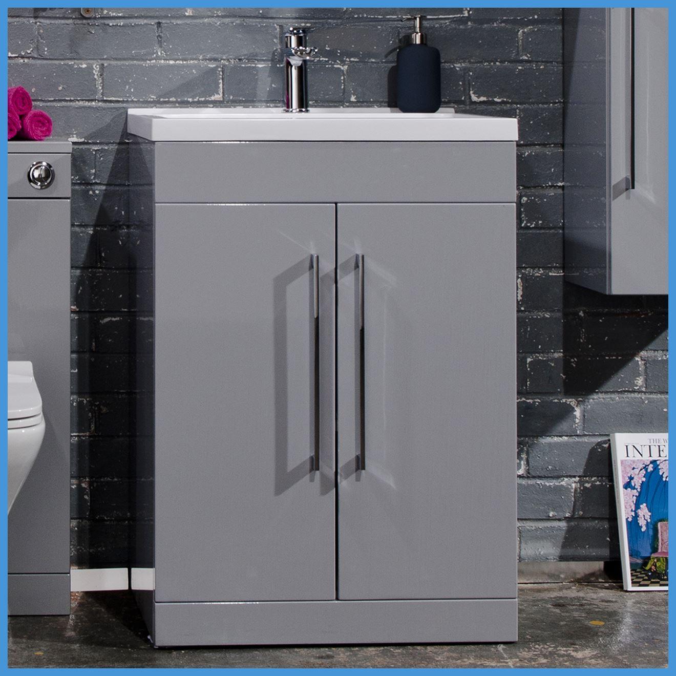 Minimalist Bathroom Items: 500 & 600mm Square Minimalist Bathroom Modern Grey Vanity