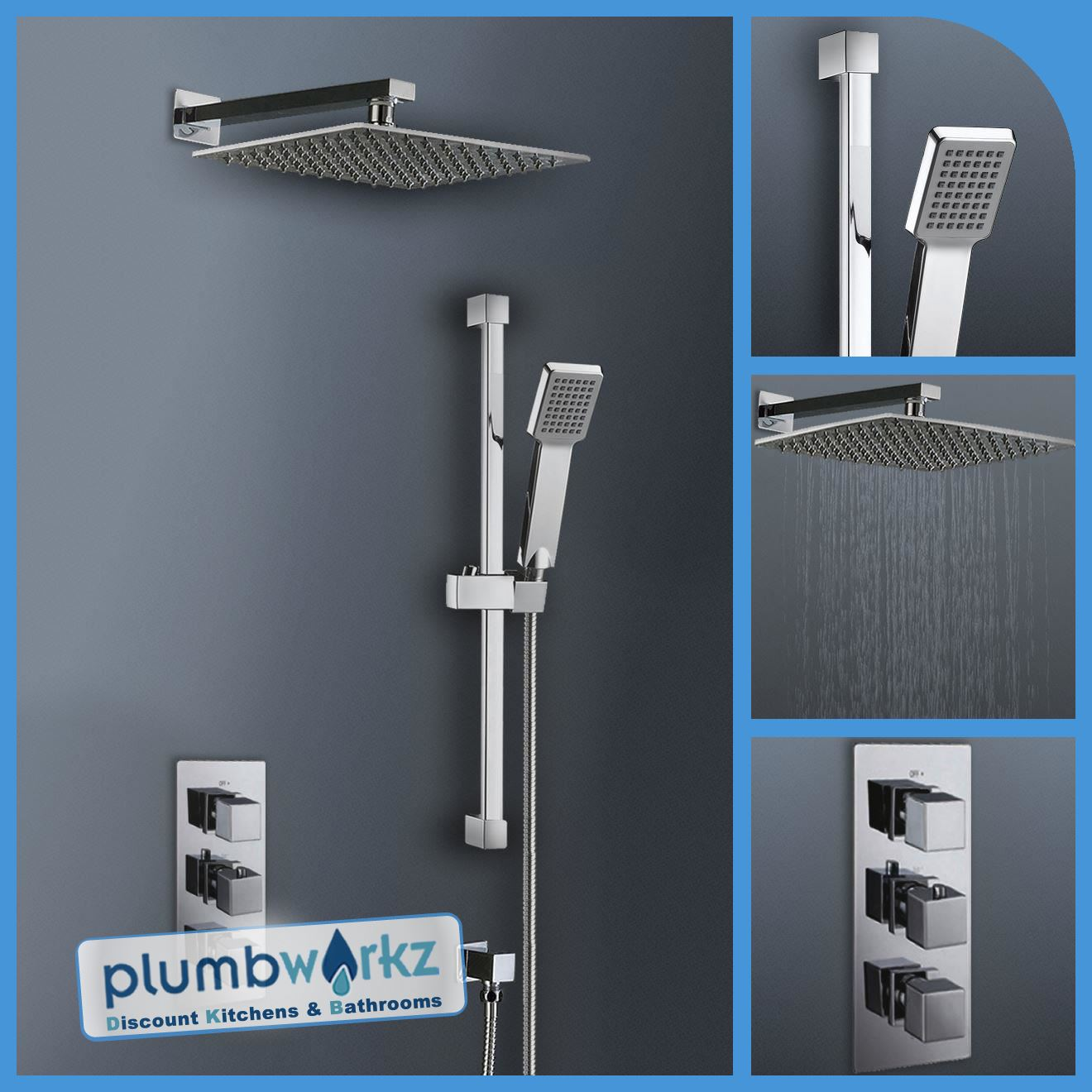 Square or Round Twin Head Chrome Thermostatic Mixer Shower Bathroom ...