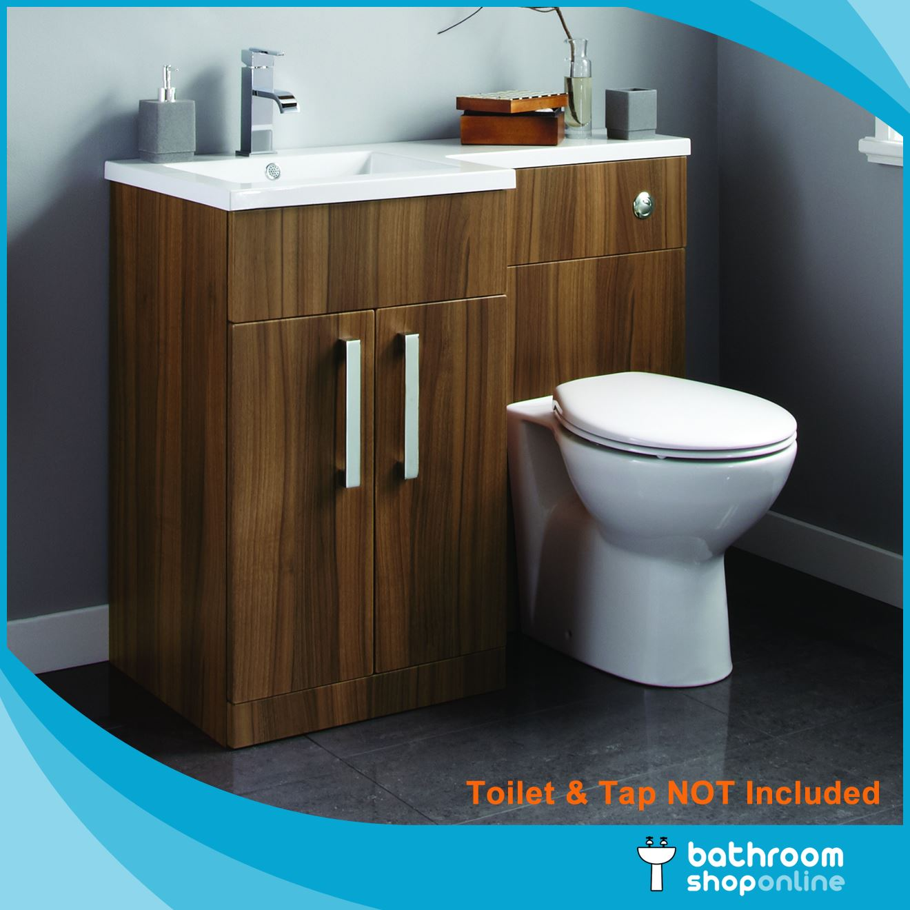L Shape Bathroom Furniture BTW Toilet Left/Right Hand Vanity WC Unit ...