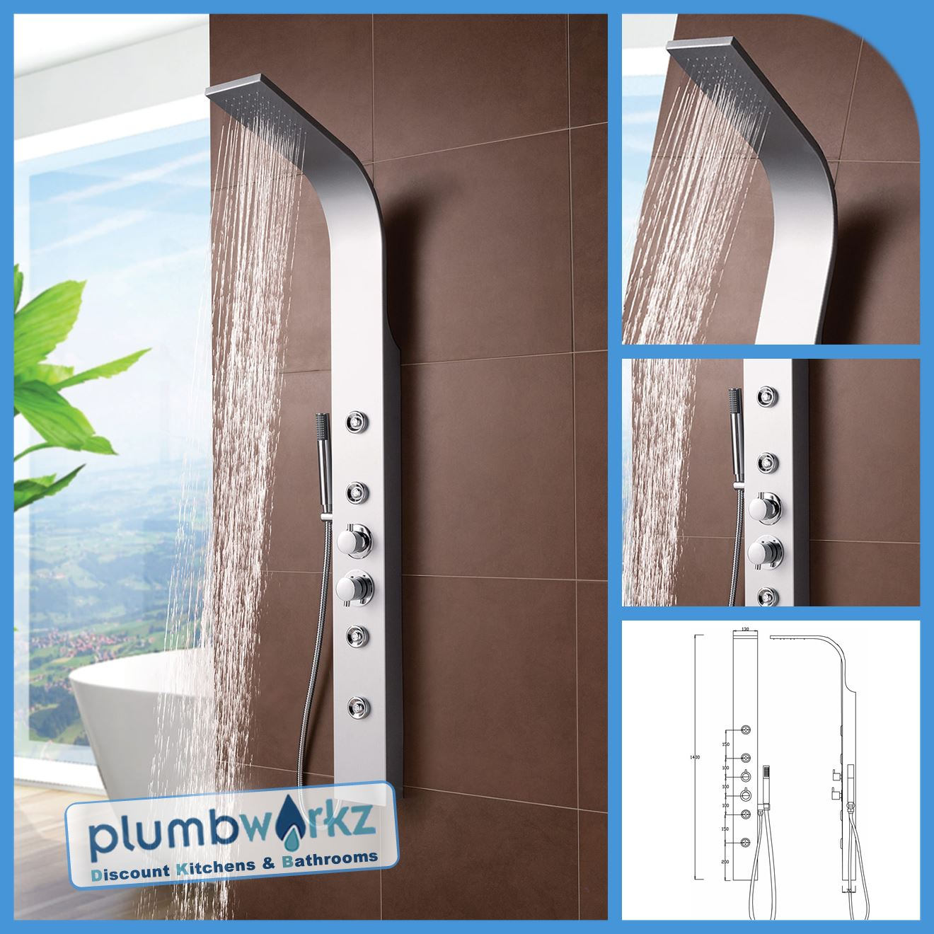 Thermostatic Shower Panel Column Tower With Body Jets Twin Head ...