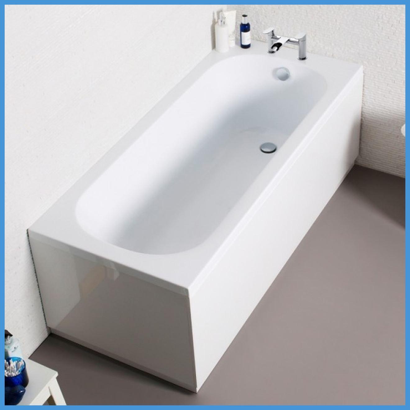 Straight White Bath Modern Bathroom Acrylic End Panel Front Panel ...