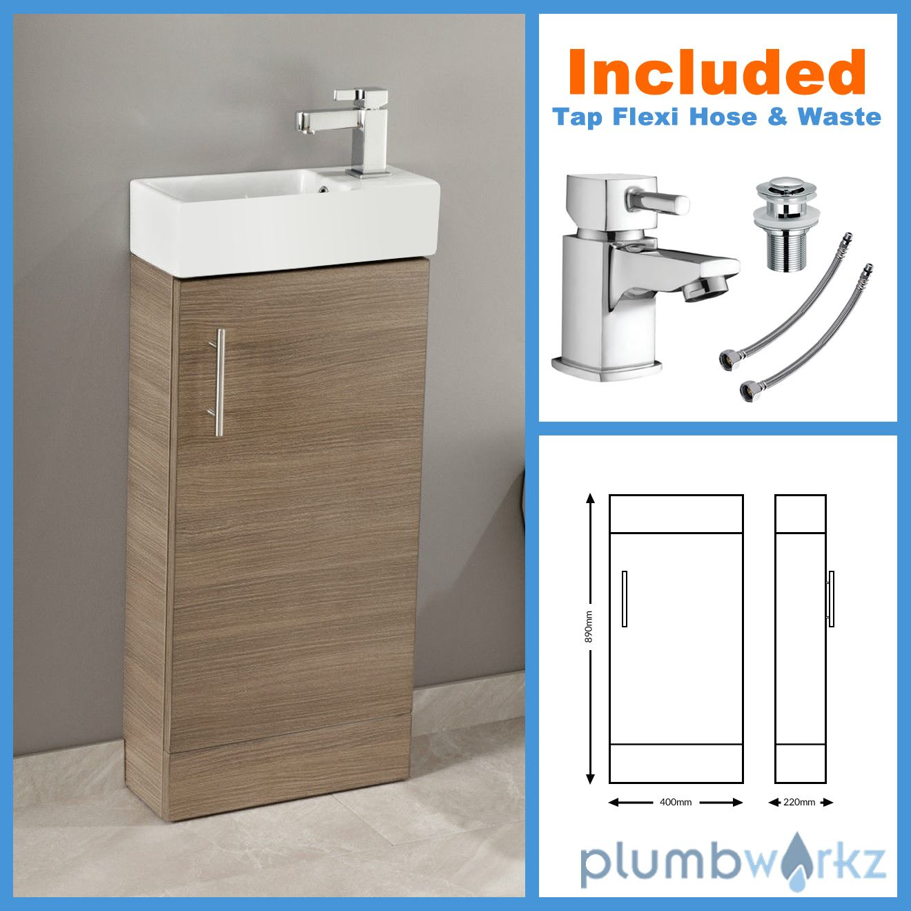 400mm Bathroom Vanity Unit Basin Ceramic Sink Cloakroom Cabinet ...