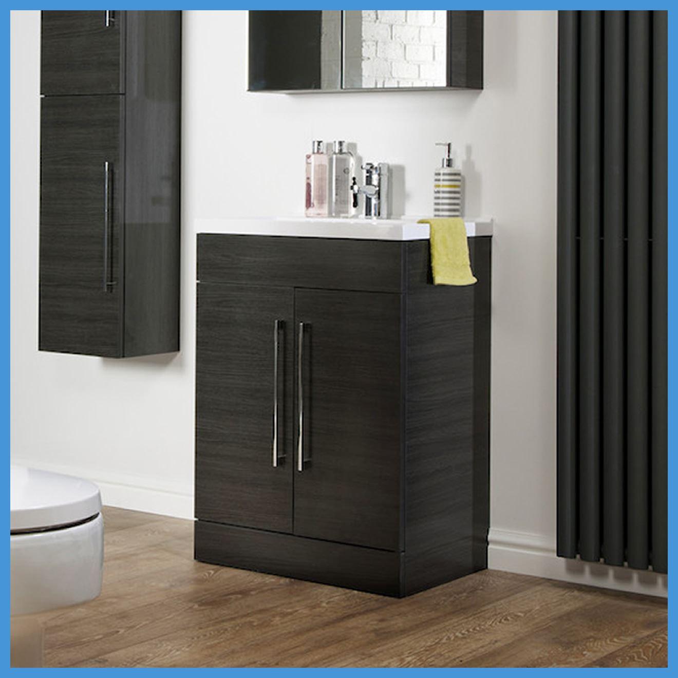 bathroom furniture black ash vanity unit cabinet basin back to wall wc unit ebay. Black Bedroom Furniture Sets. Home Design Ideas