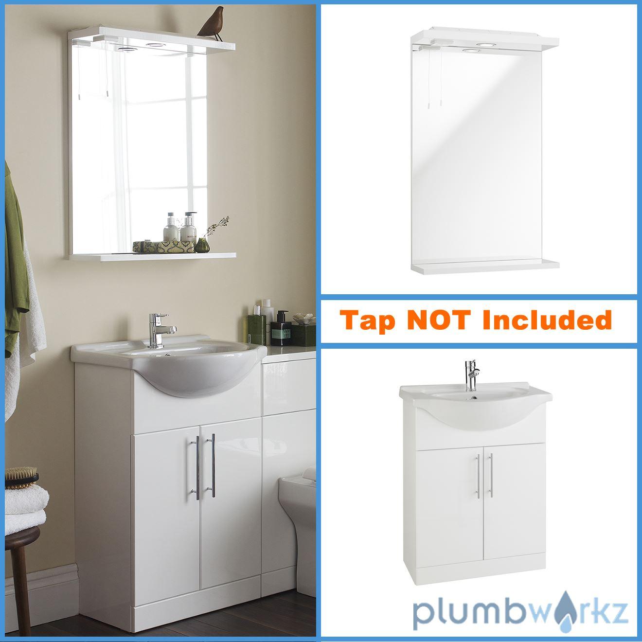 Vanity Unit Basin Mirror Down Lights Gloss White Modern Bathroom ...