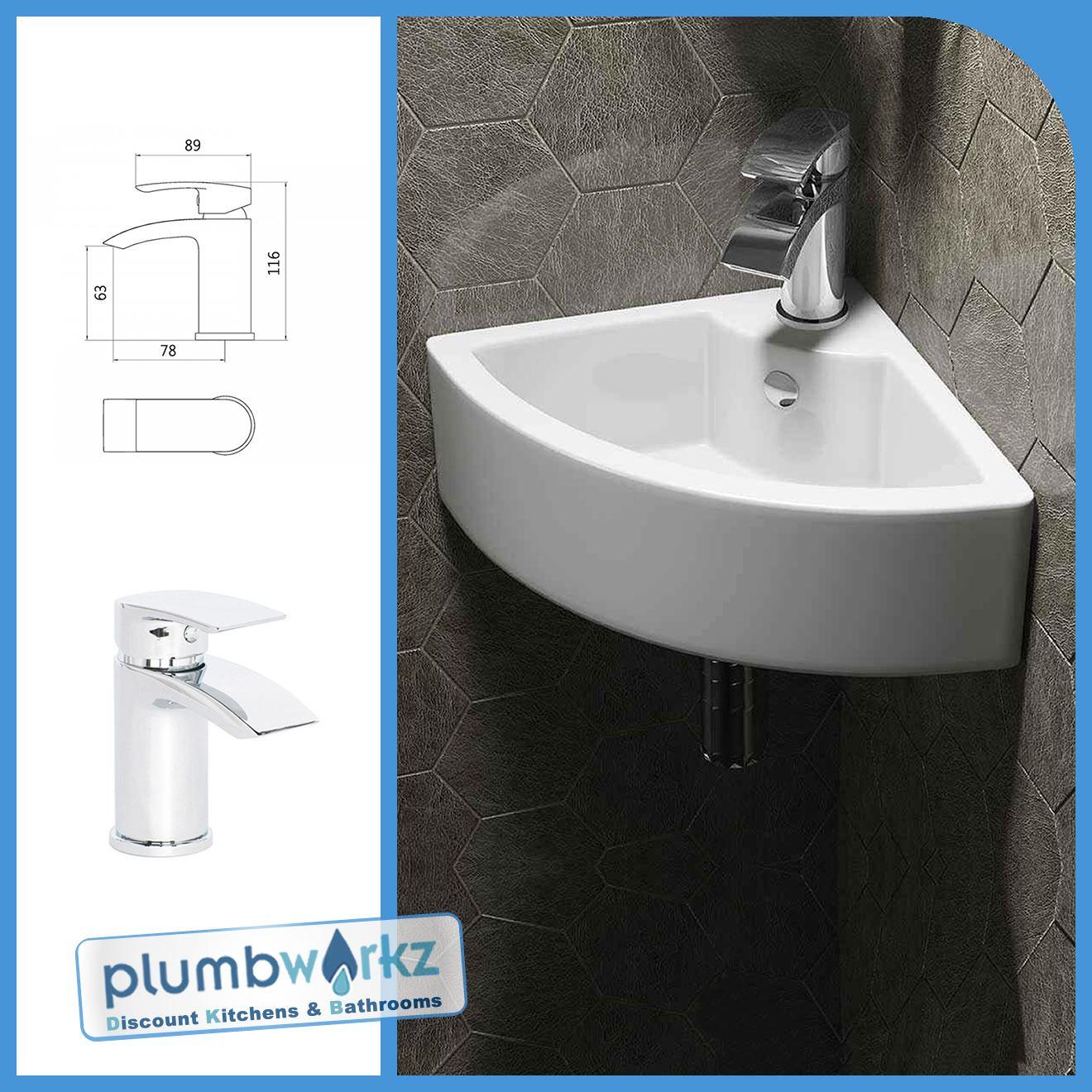 Modern Wall Hung Corner Ceramic Basin Small Cloakroom Wash Basin ...