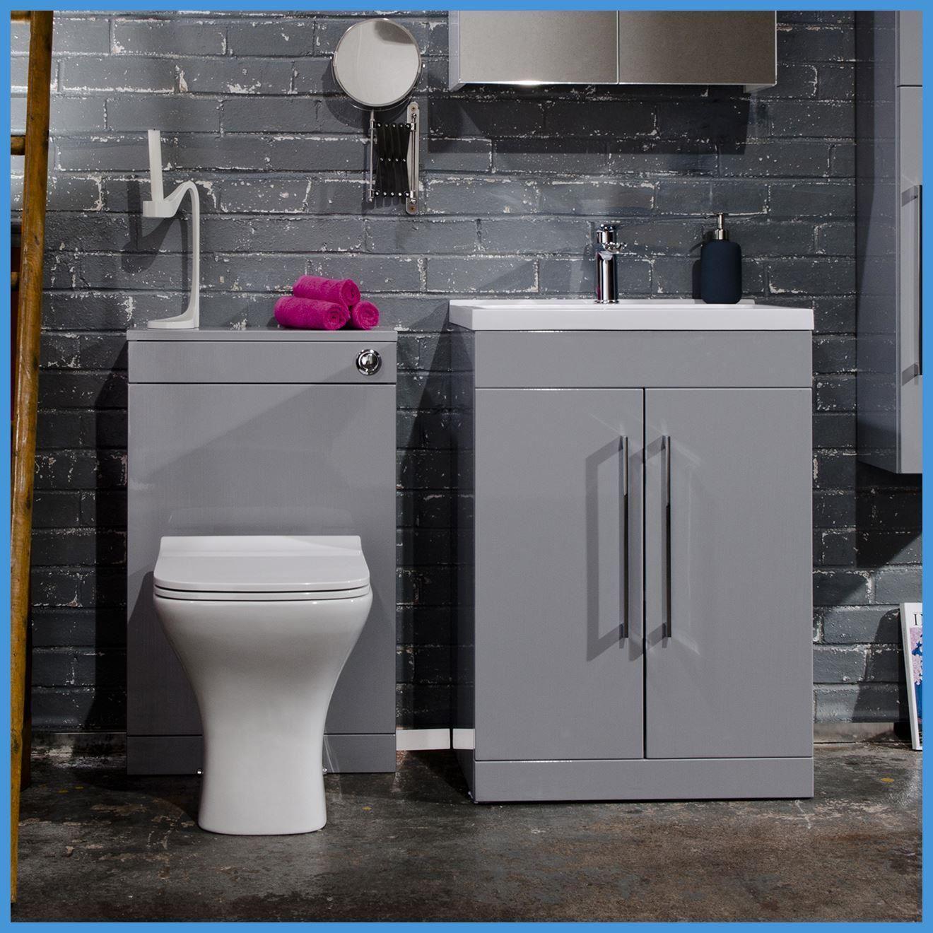 Vanity Unit Bathroom Grey 600mm modern grey vanity unit & wc unit bathroom cabinet basin
