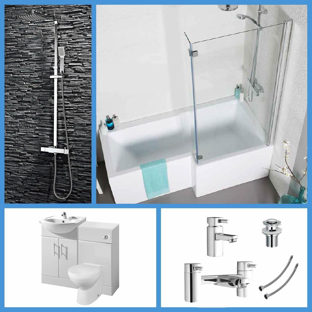 L Shaped Bathroom Suite 1700 Bath 550 Vanity Unit BTW Toilet WC Taps ...