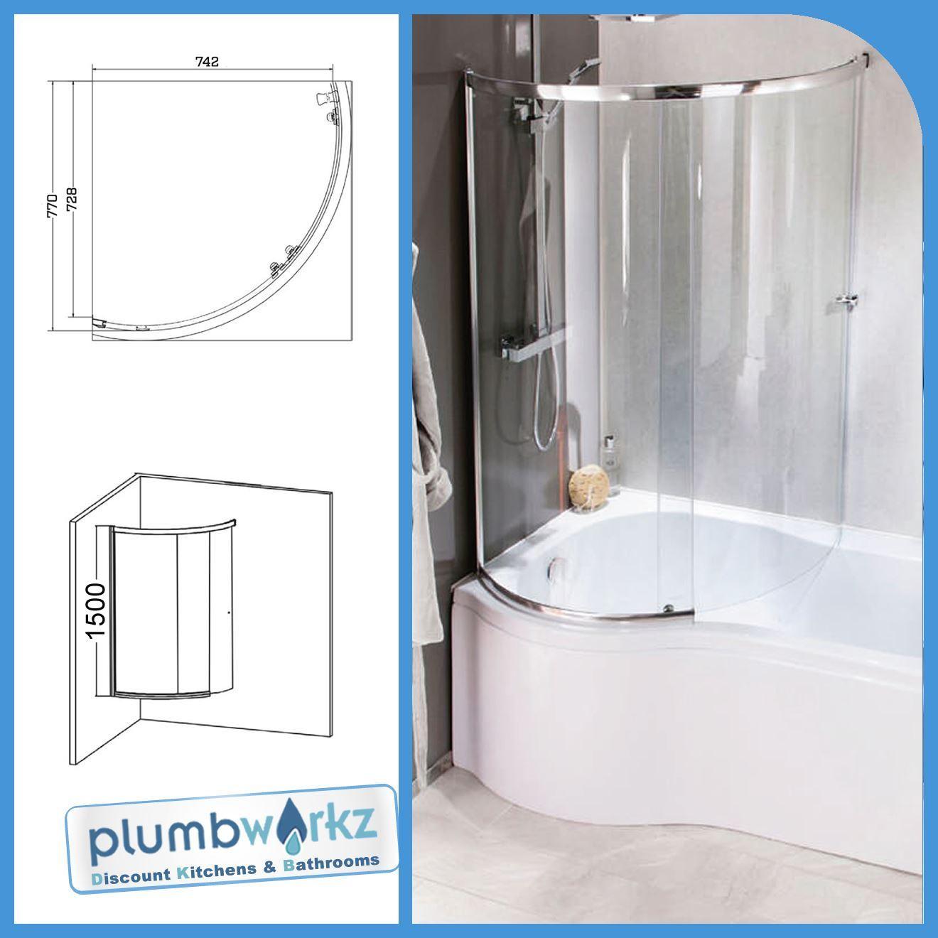 Curved Shower Bath Screen Sliding Glass P Shape Shower Bath Screen ...