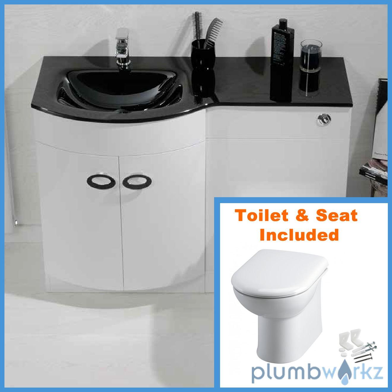D Shape Bathroom Vanity Unit Basin Sink Bathroom WC Unit BTW Toilet - Glass top bathroom vanity units