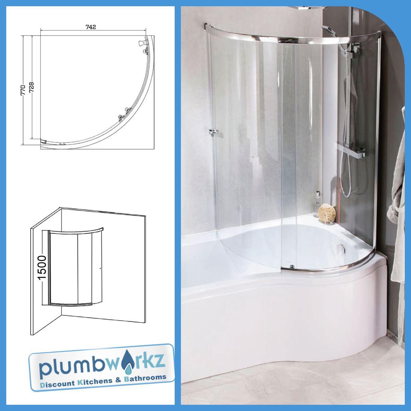 Details about P Shaped Bath 1500mm-1700mm Bath Full Enclosure Screen & Bath Panel