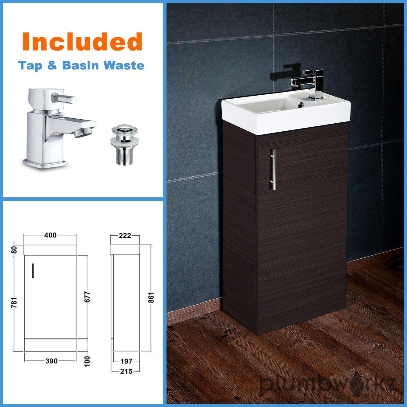 Compact Bathroom Vanity Unit Basin Sink Vanity 400mm Floor Standing Tap Waste Ebay