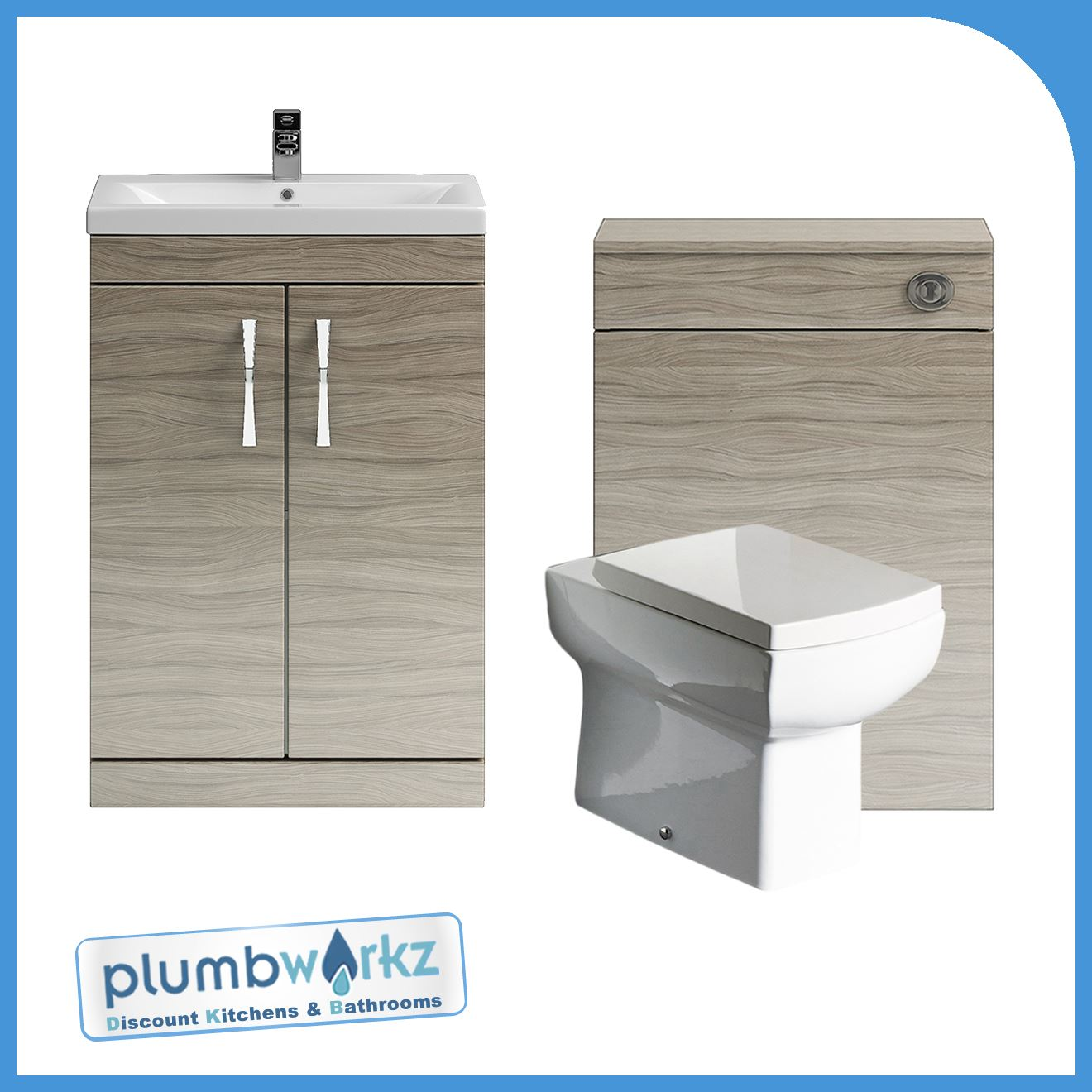 bathroom furniture driftwood vanity unit cabinet toilet basin btw toilet wc unit ebay. Black Bedroom Furniture Sets. Home Design Ideas