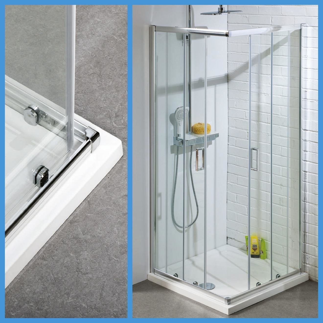 Corner Entry Shower Enclosures Toughened Glass Cubicle Sliding Door ...