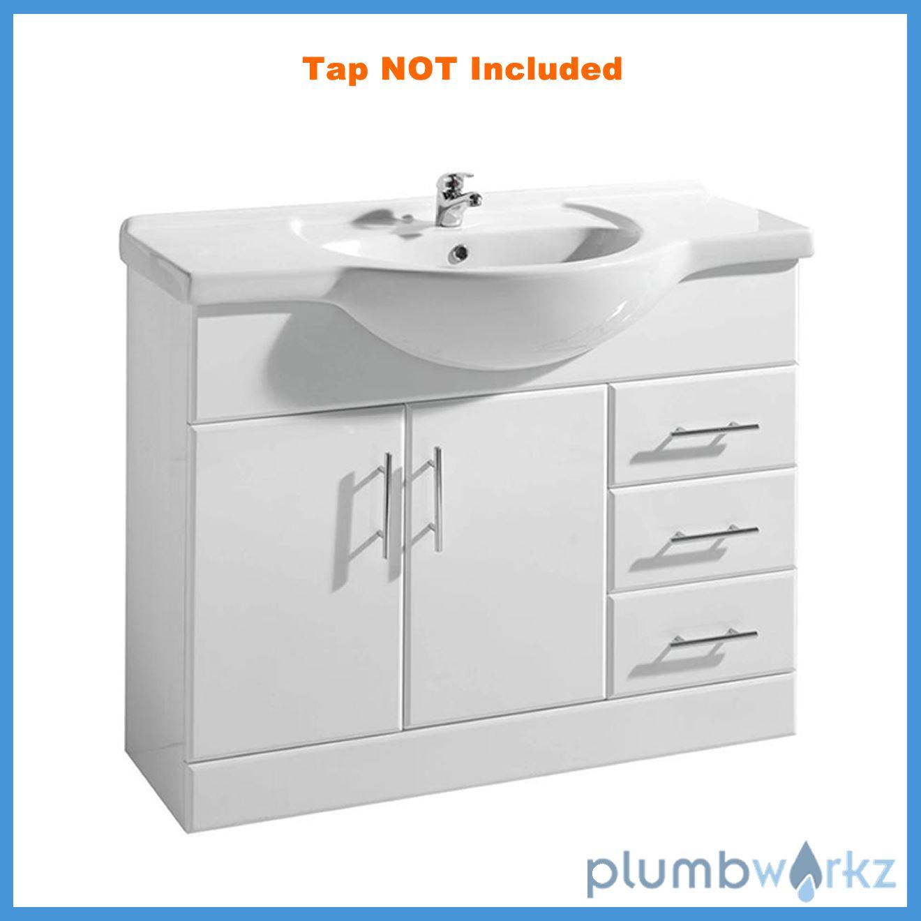 White gloss bathroom vanity unit basin sink compact - White gloss bathroom vanity unit ...