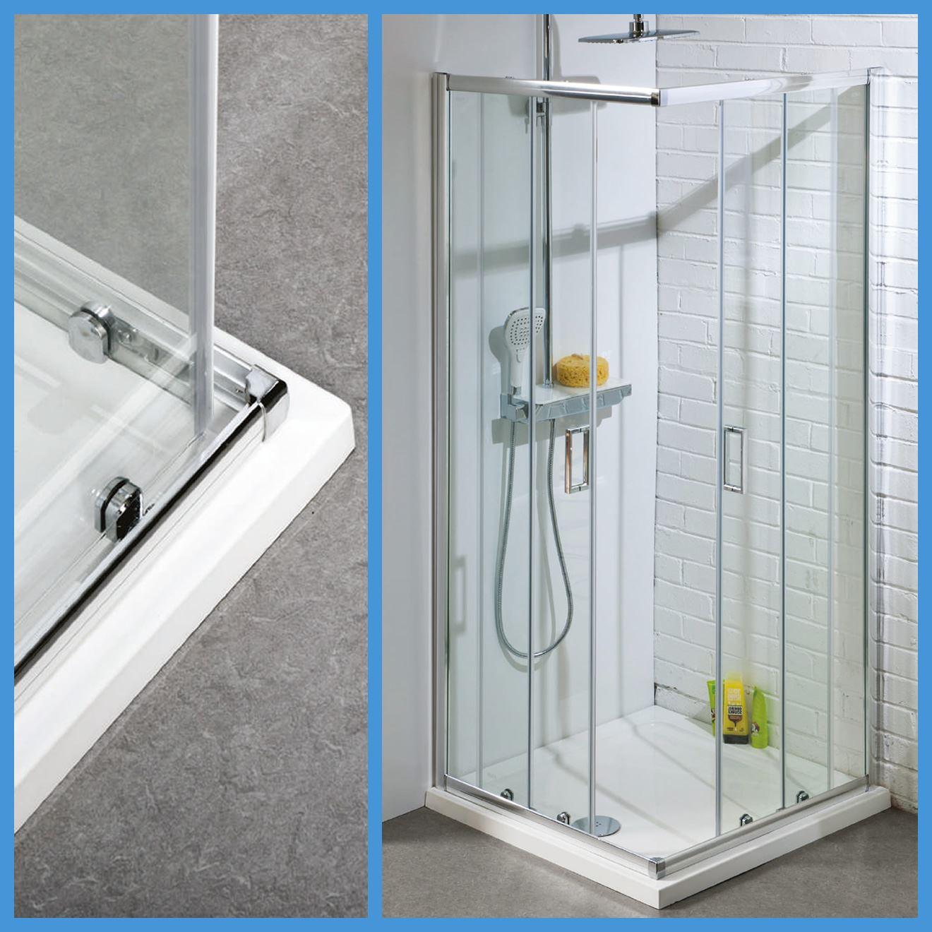 Corner Entry Shower Enclosures Toughened Glass Cubicle Sliding Door ...