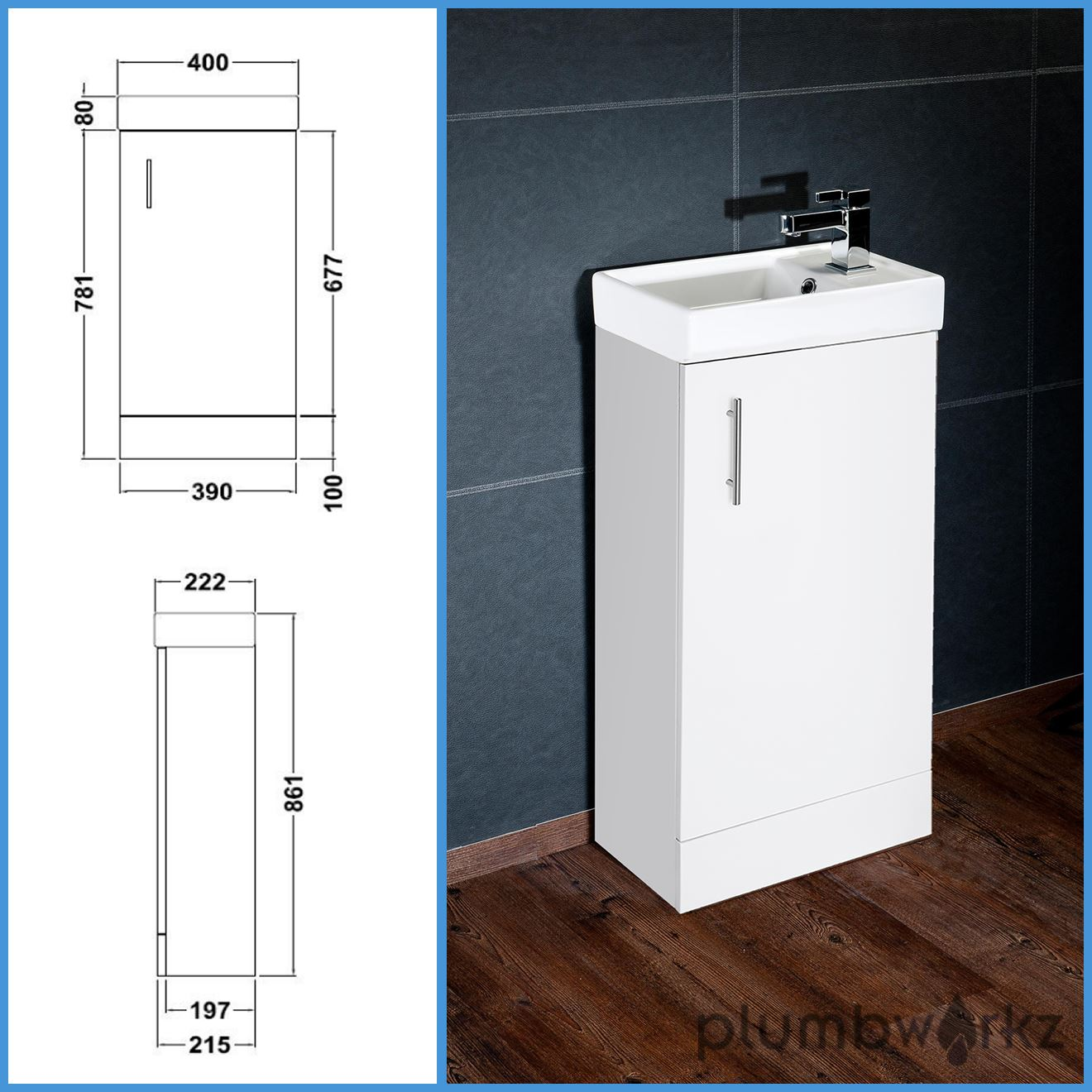 White Bathroom Vanity Unit Basin Sink Vanity 400mm Floor