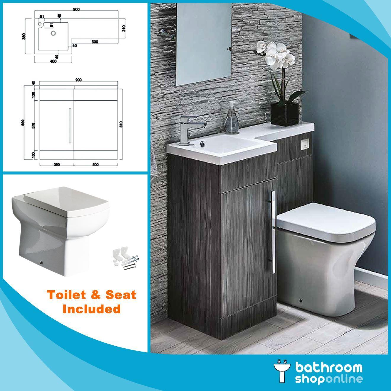 900mm L Shape Bathroom Furniture Suite Btw Toilet Vanity