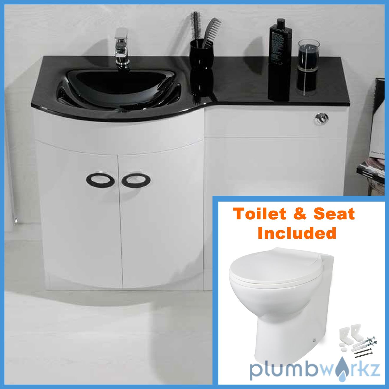 D Shape Bathroom Vanity Unit Basin Sink Bathroom WC Unit BTW Toilet Black Glass