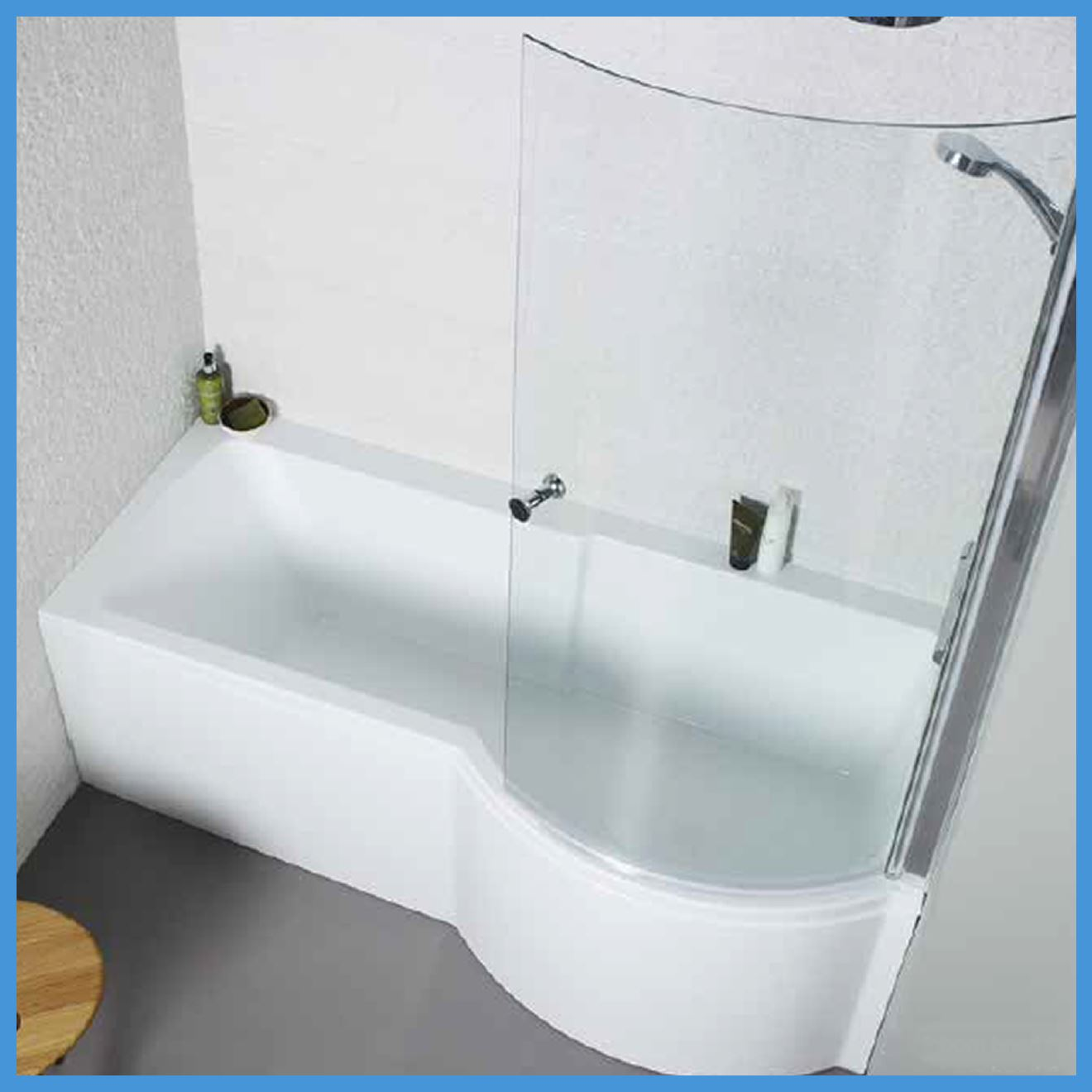 P Shaped Bathroom Suite 1700 Bath 550 Vanity Unit BTW ...