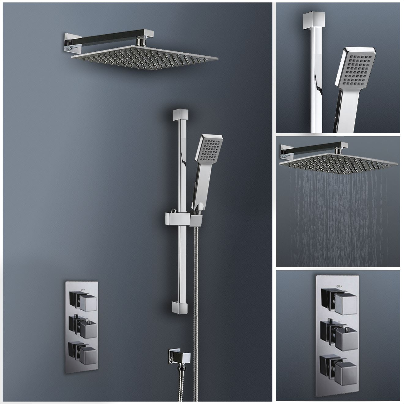Modern Square Shower Concealed Valve Shower Thermostatic 300mm ...