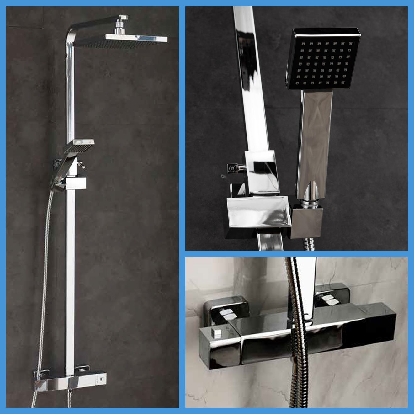 Thermostatic Shower & Taps Chrome Mixer Drench Twin Head Bathroom ...