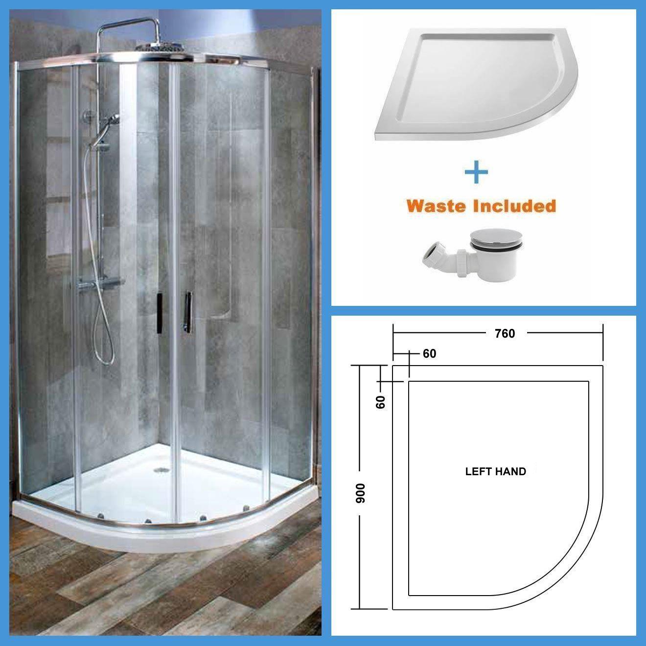 900x760 Quadrant Shower Enclosure Walk In Corner Shower 6mm Glass