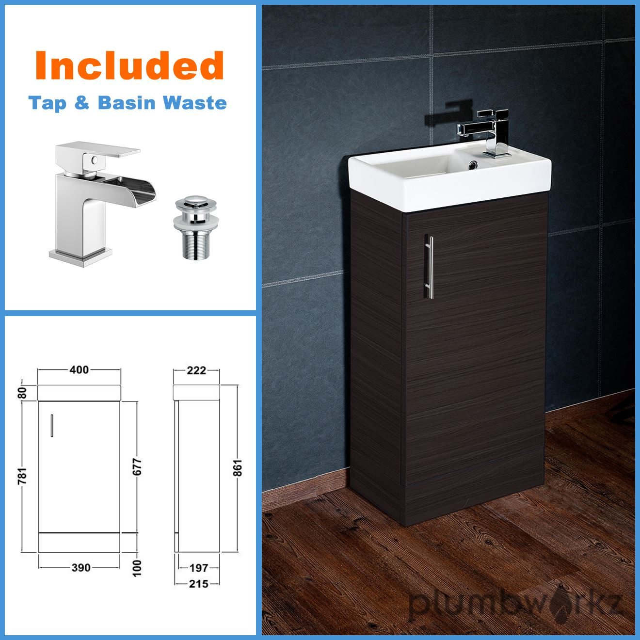 Compact Bathroom Vanity Unit Basin Sink Vanity 400mm Floor Standing Tap Waste Ebay