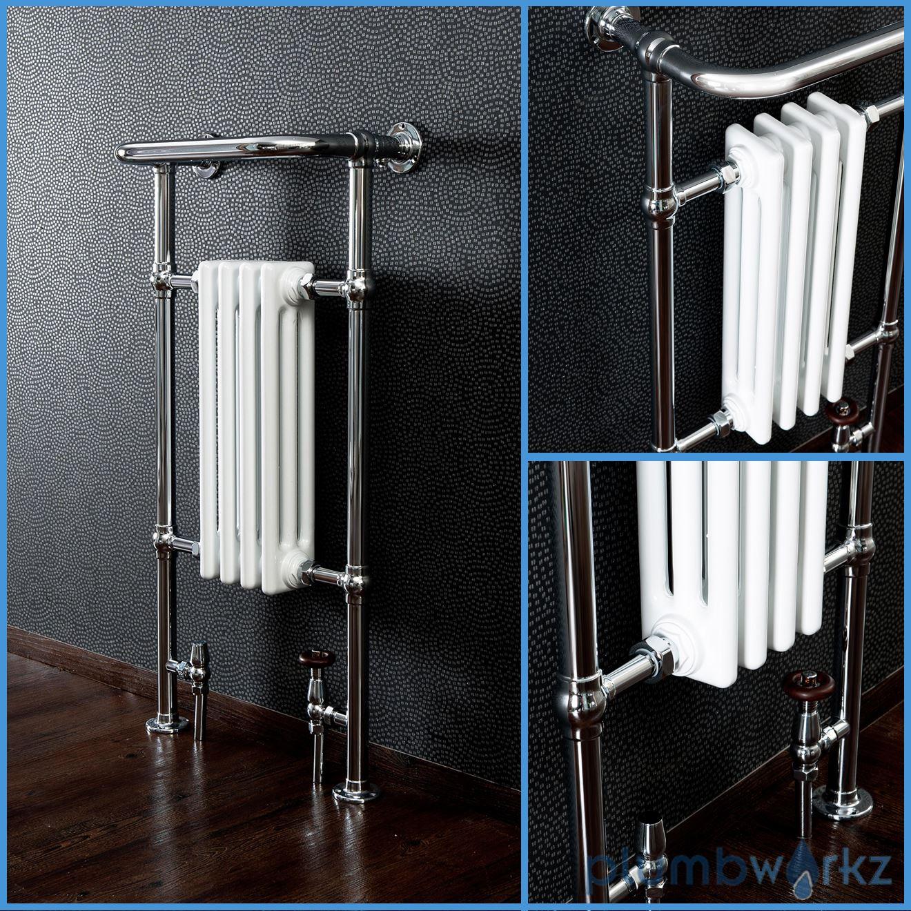 Traditional Victorian Chrome Heated Bathroom Towel Rail Radiators Valves Ebay