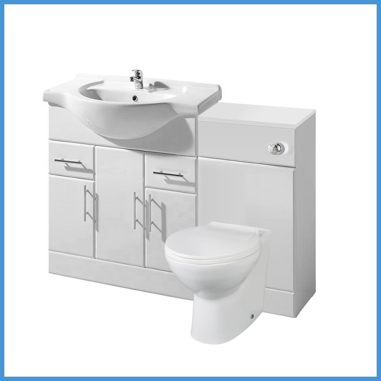 High gloss white bathroom vanity unit storage cabinet wc - High gloss bathroom cabinets white ...