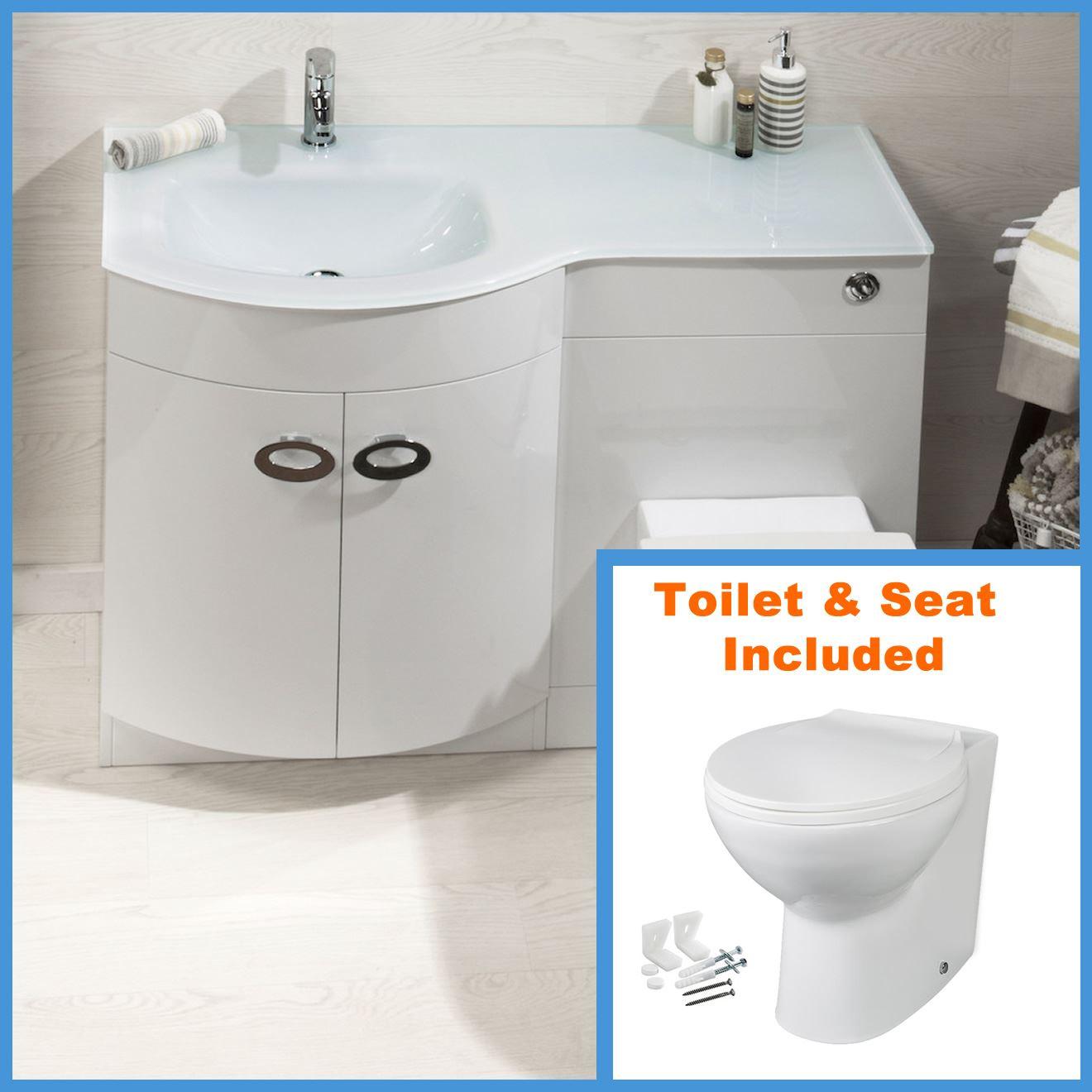 D shape bathroom vanity unit basin sink bathroom wc unit btw toilet white glass ebay for Bathroom sink and toilet units