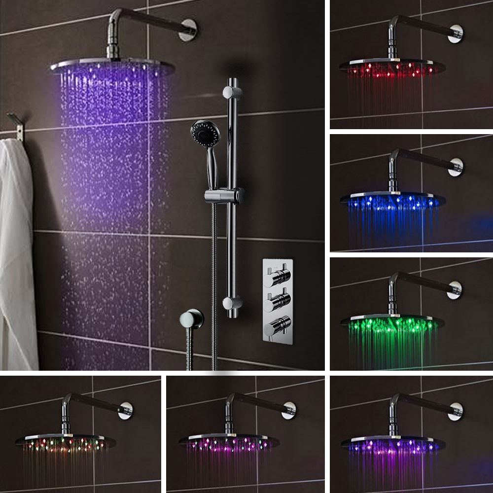 LED Chrome 200mm Round Square Drench Head Triple Valve Thermo ...