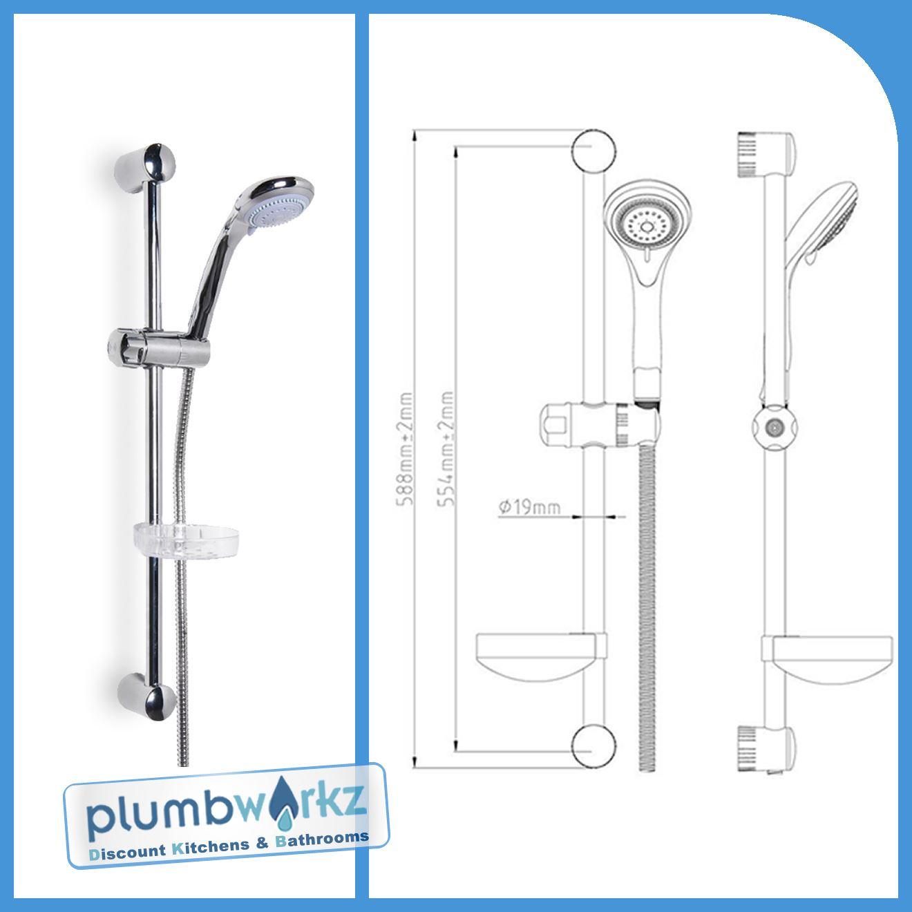 Modern Chrome Shower Riser Rail Kit Multifunctional Shower