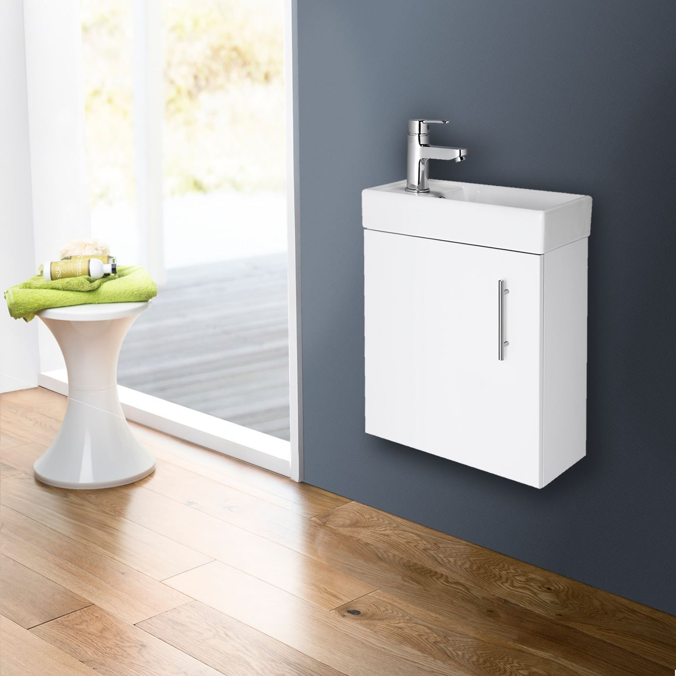 compact bathroom vanity unit basin sink cloakroom 400mm. Black Bedroom Furniture Sets. Home Design Ideas