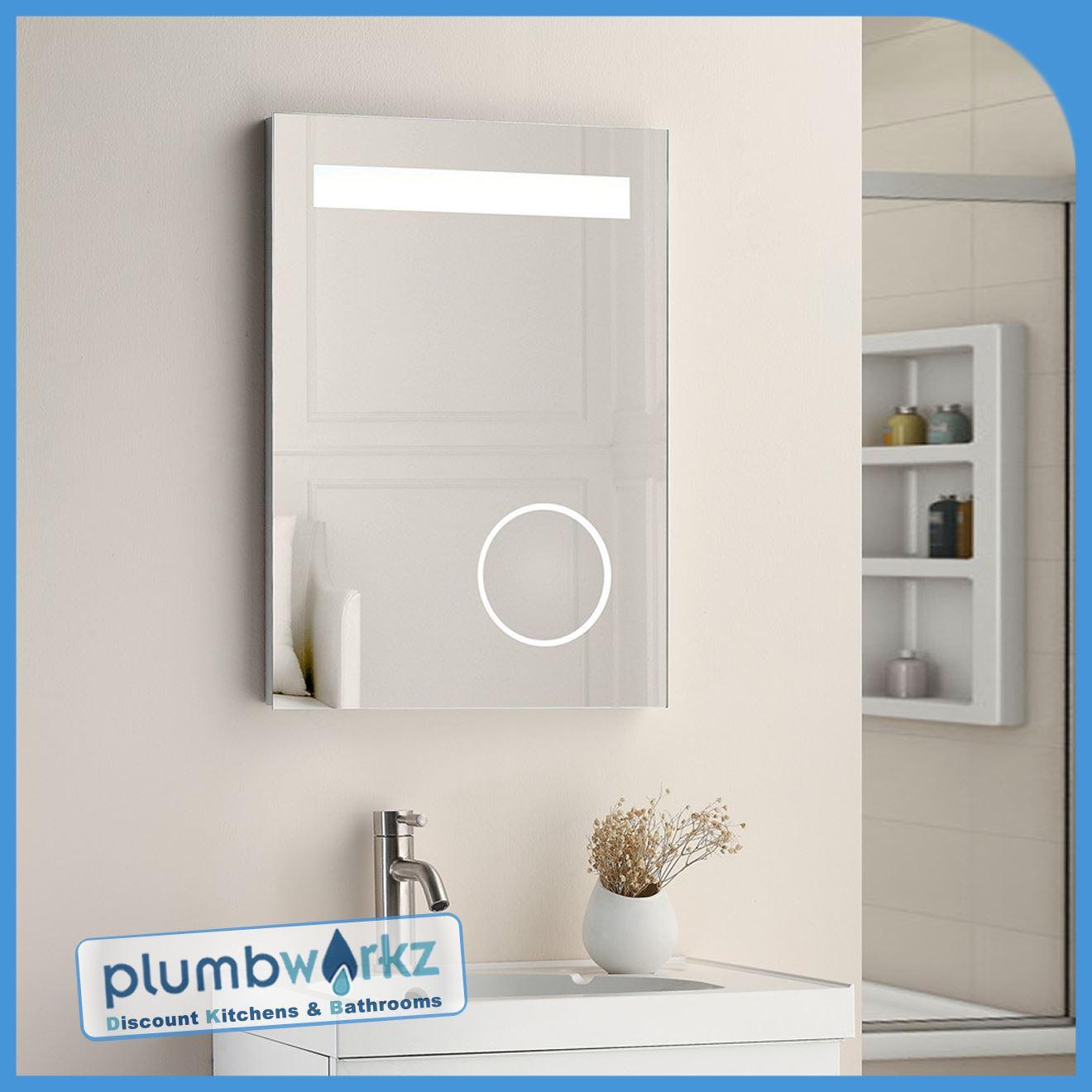 LED Bathroom Mirror Illuminated Demister Sensor Touch Magnifying ...